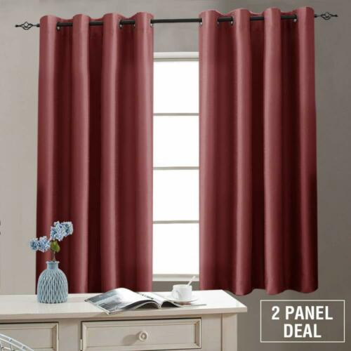 Faux Silk Curtains Bedroom Dupioni Grommet Light Reducing Drapes 1 Pair