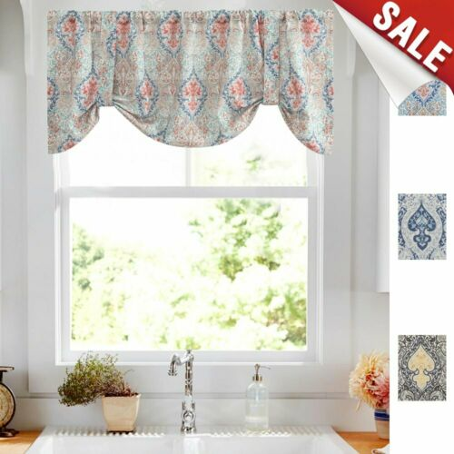 Damask Printed Tie-up Valances for Windows Multicolor Linen Textured Curtain