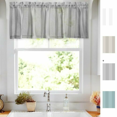 Sheer Valance Curtain 14 inch Rod Pocket Window Curtain Striped Design