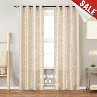 Faux Silk Swirl Embroidered Grommet Top Curtains Bedroom 2 Panels