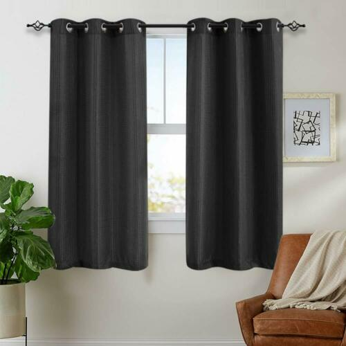 Black Curtains for Bedroom 84 inches Long Waffle Weave Textured 2 Panels