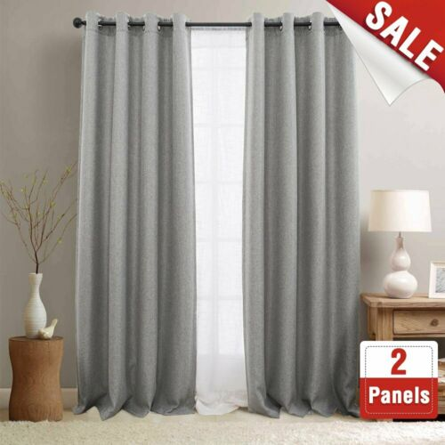 Blackout Curtains for Bedroom Set Linen Textured Room Darkening Drapes 2 Panels