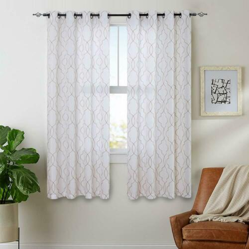 Curtains Moroccan Trellis Pattern Embroidered  Grommet Top for Bedroom 2 Panles