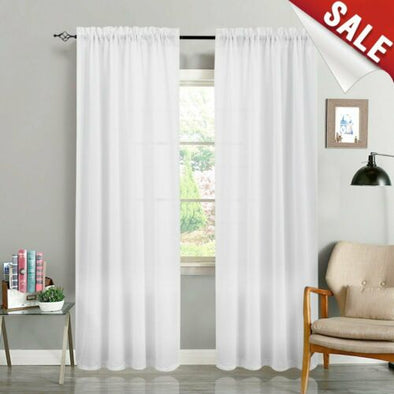 Sheer Curtains for Living Room Voile Curtains Bedroom Rod Pocket 1 Pair