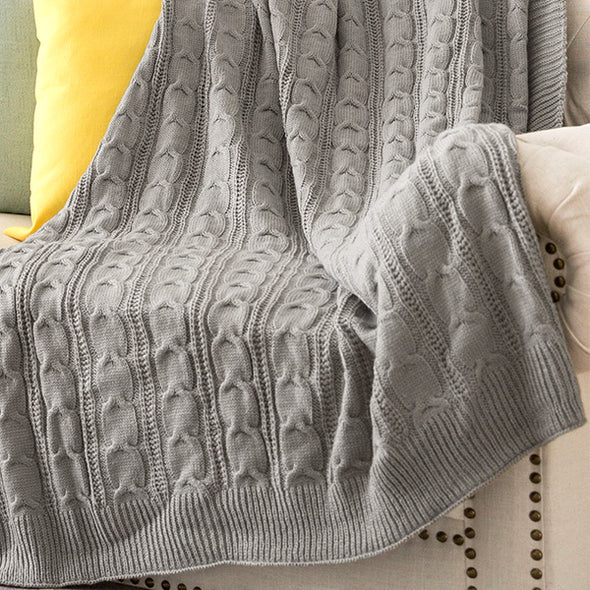 Throw Blanket Soft Mustard Lightweight Cable Knit Sweater Style Year Round Gift Indoor Outdoor Travel