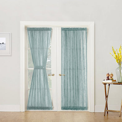 French Door Panel Curtains Privacy Sheer Door Curtain Panels Linen Look Textured French Door Curtains