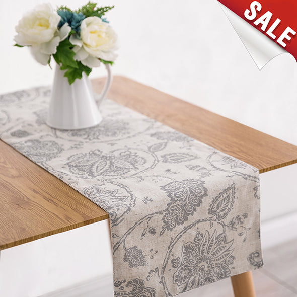 QUEENY // Scroll Paisley Print Linen Blend Table Runner / Table Cloth