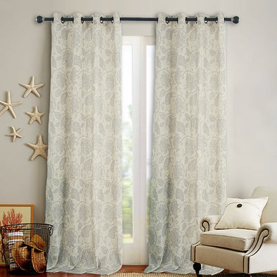 TIA // Paisley Scroll Design Linen Blend Curtains Grommet