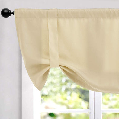 "Tie-up Valance for Kitchen Windows Tie Up Shade for Small Window Blackout Curtain Adjustable Window Valance Balloon Blind, Rod Pocket, 20""or18'' L"