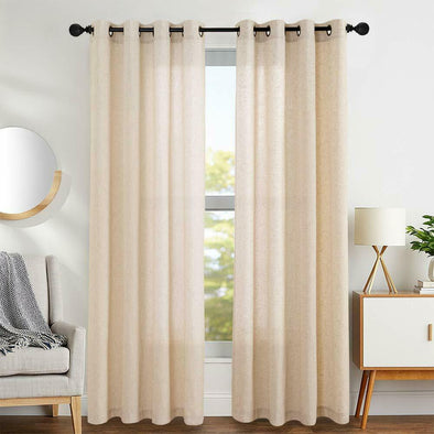 Linen Cotton Blend Curtains for Living Room Set for Bedroom Grommet Top 2 Panels