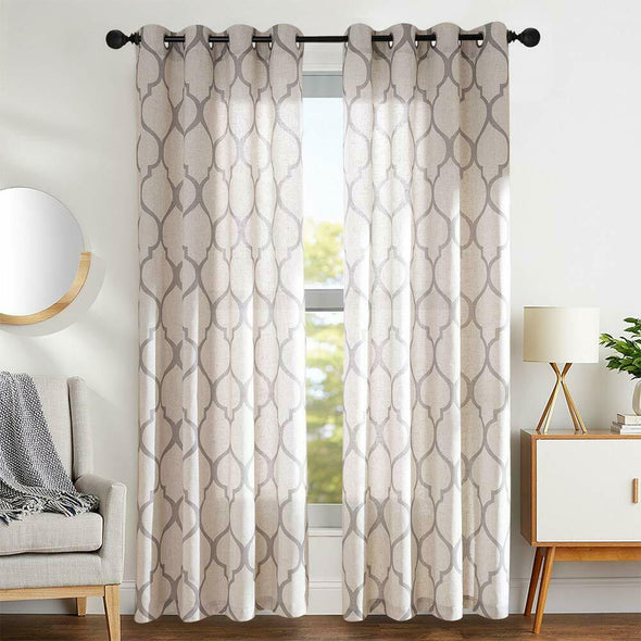 Moroccan Linen Curtains Printed Lattice Curtain  2 Panels Textured