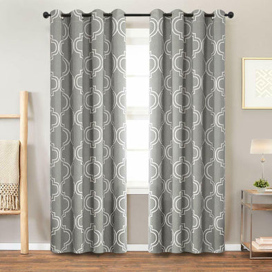 Blackout Curtains Morrocan Tile Print Quatrefoil Grey for Bedroom  2 Panels
