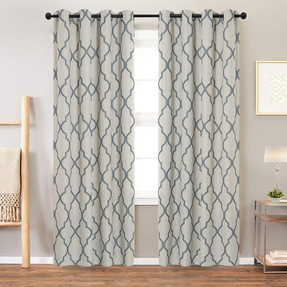Moroccan Tile Print Blackout Curtain Linen Textured Panels for Bedroom Room Grommet Window Treatment Set for Living Room