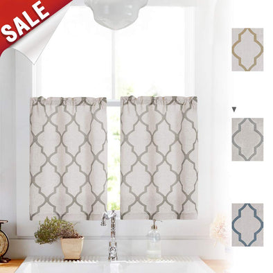 "Moroccan Print Tier Curtains Kitchen Cafe Half Window Panels 1 Pair 26""W x 36""L"