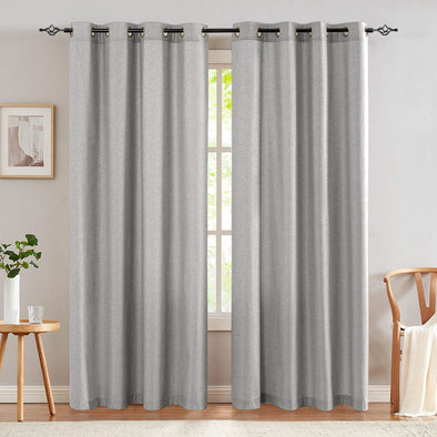 Microfiber Linen Textured Curtains for Living Room Window Drapes for Bedroom Panels Bronze Grommet 2 Panels