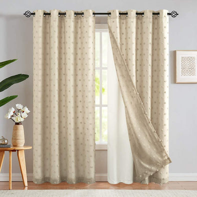 White Curtains Embroidered with Pom Pom 2 Panels Double Layers Grommet Drapes for Living Room