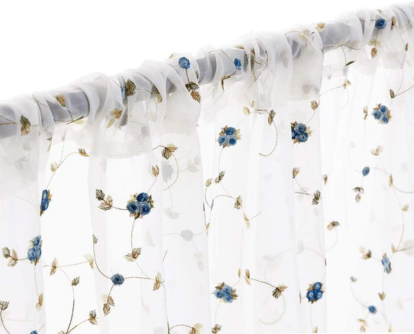 Floral Sheer Curtains Embroidered for Girls Room Rose Buds Retro Voile Curtain Panels