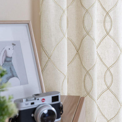 Linen Textured Curtains for Living Room Long Wavy Window Curtains 2 Panels