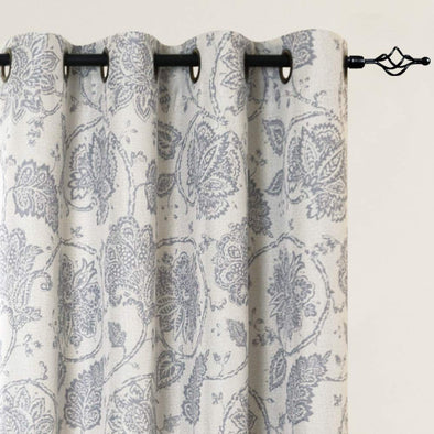 Paisley Scroll Printed Linen Textured Curtains Grommet Top 1Pair