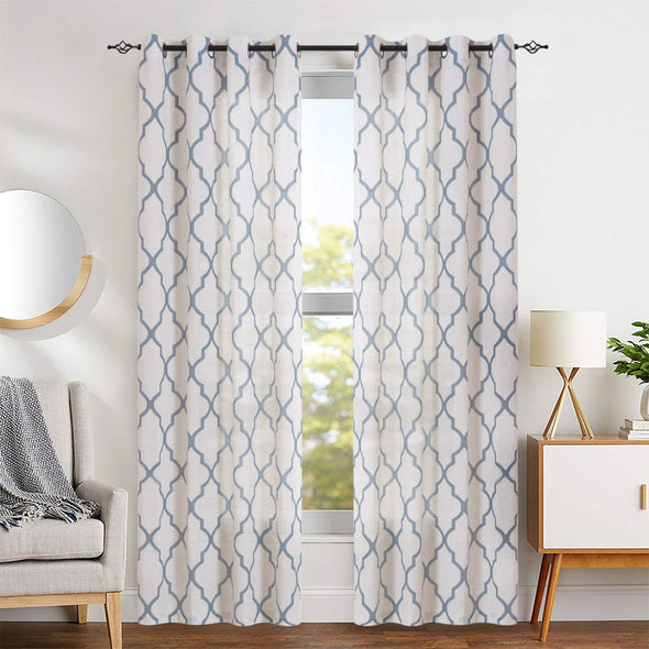 Moroccan Tile Print Curtains for Bedroom Geometry Lattice Grommet Window 1 Pair