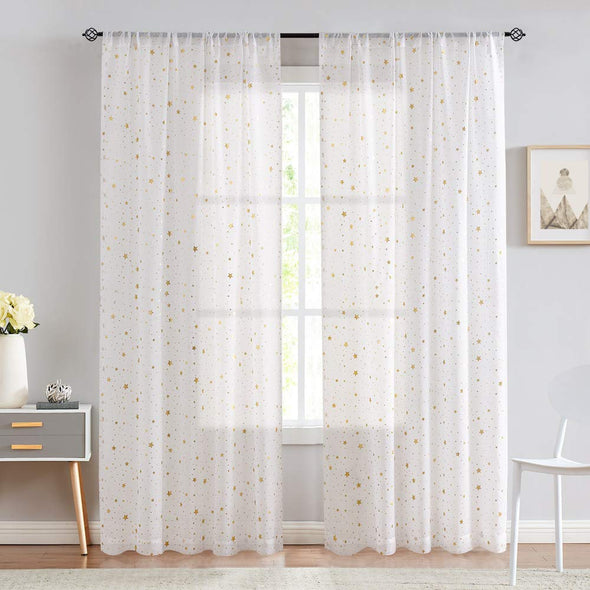 Rod Pocket Window Curtains for Girls Bedroom Starry Night Cute Twinkle Star Faux Linen Textured Drapes Set 2 Panels