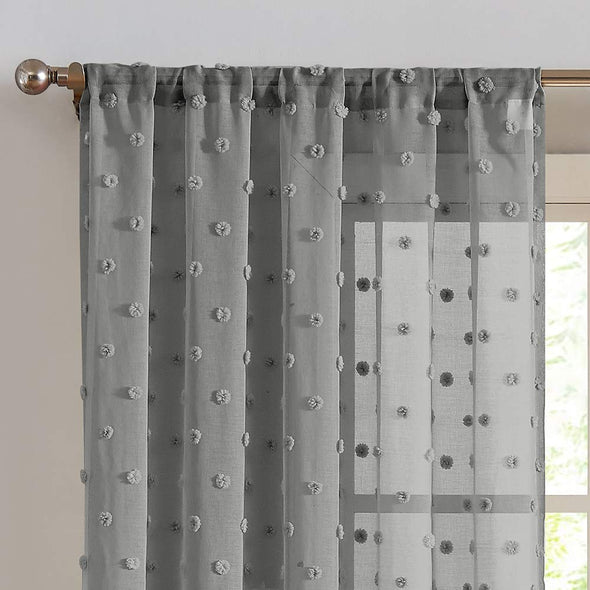 Sheer Window Curtains Textured Rod Pocket oile Curtain Voile Curtain Set Bedroom Embroidered with Pom Pom 2 Panels