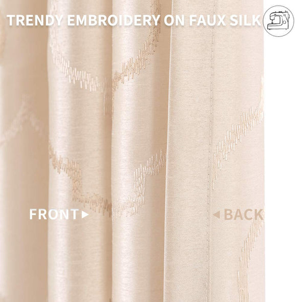 Faux Silk Floral Curtains Moroccan Tile Design Embroidered Grommet Top 2 Panels