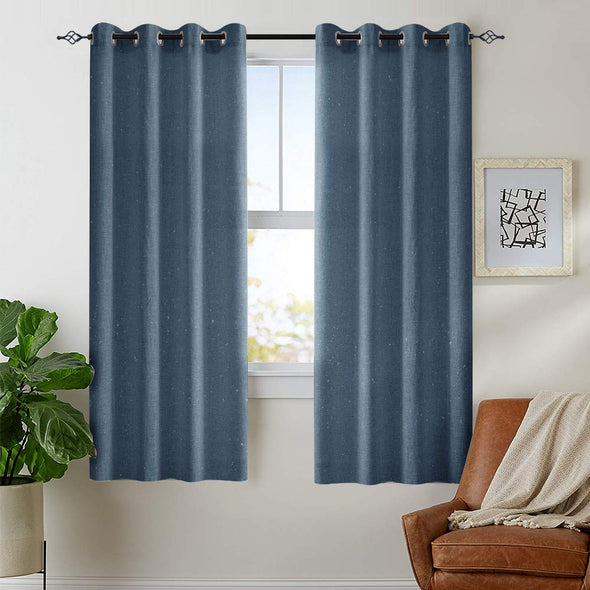 Linen Curtains for Living Room Drapes Flax Window Curtain Panels for Bedroom 1 Pair