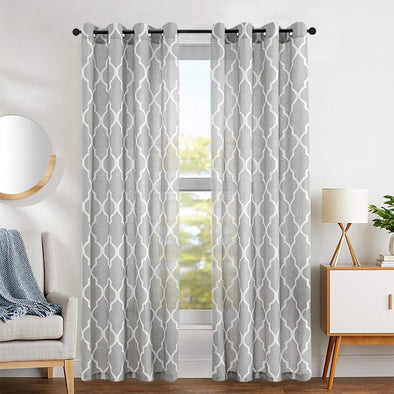 YUKI // Linen Blend Moroccan Tile Curtains Grommet Top Design 2 Panels