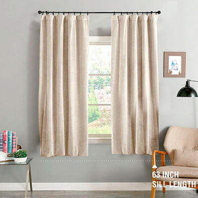 MARA // Rod Pocket Velvet Curtains With Room Darkening Black Yarn