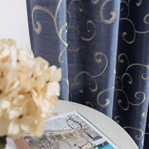 SAFA // Faux Silk Embroided Curtains With Bronze Grommet Ring Top