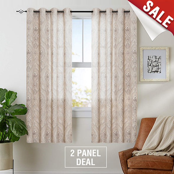 Medallion Linen Blend Curtains for Living Room Drapes Damask Pattern Flax Draperies Window Treatments Room Darkening