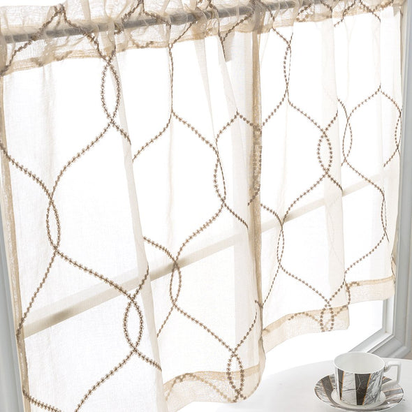 Tier and Valance Curtain Sets Moroccan Trellis Pattern 3 Pieces Kitchen Curtains
