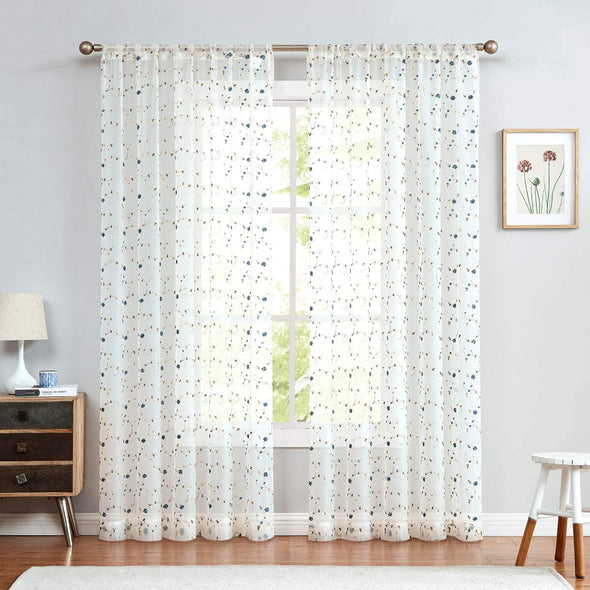 Flower Sheer Curtains Floral Embroidered for Girls Room Rose Buds Retro Voile Curtain