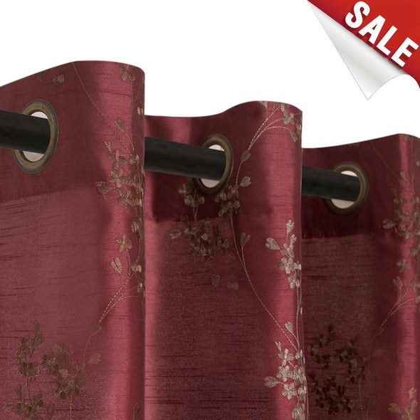 Faux Silk Floral Embroidered Grommet Top Curtains for Living Room  2 Pieces