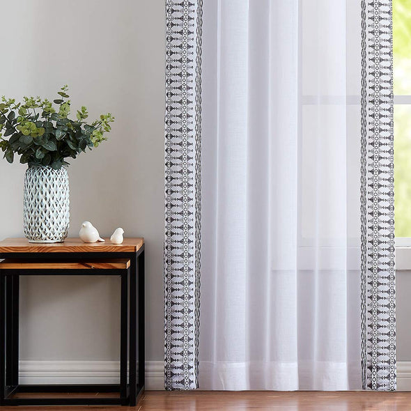 Sheer Curtains for Living Room Embroidered Window Curtains Sheer Curtain for Bedroom 2 Panels