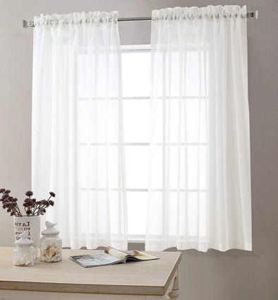 "Sheer White Curtains for Living Room 63""L inch Bedroom Window Curtain 1 Pair"