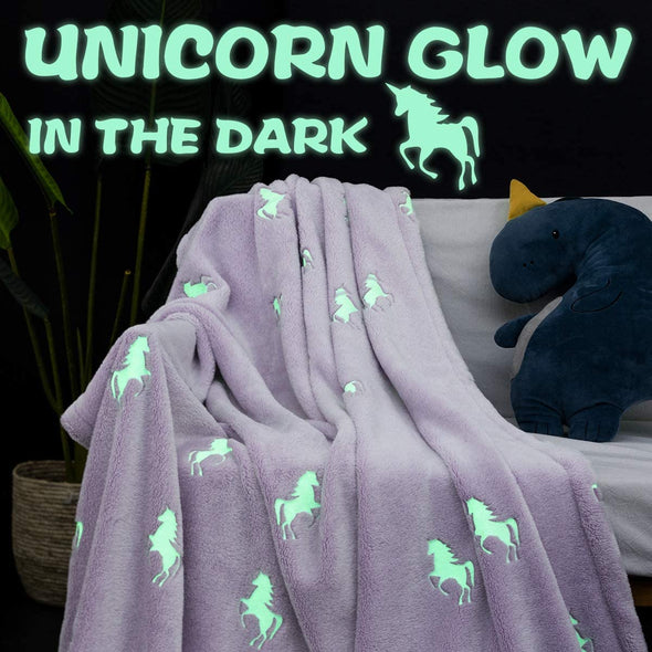 Flannel Glowing Throw Blanket Unicorn Soft Pink Kids Lightweight Comfy Luminious Blanket Glow in The Dark