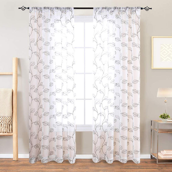 Embroidered Sheer Curtains for Living Room Botanical Tile Window Curtains 2 Pane