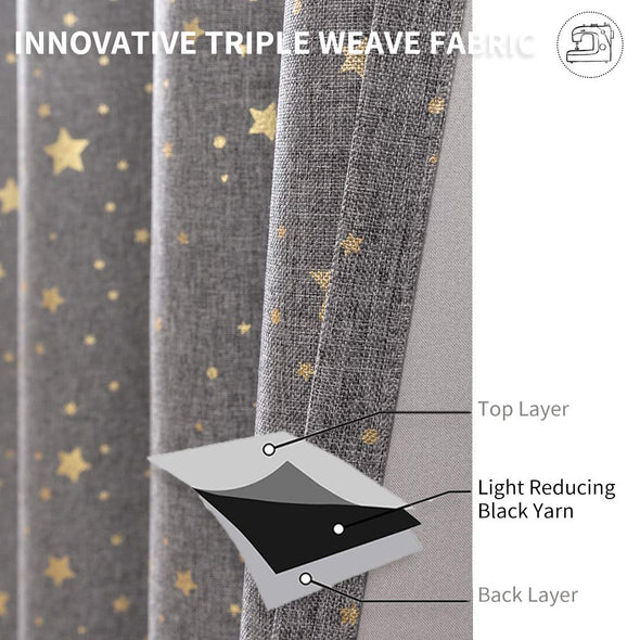 Blackout Curtains for Kids Bedroom on Flax Star Design Faux Linen Textured Grommets Shiny Star Window Drapes 2 Panels