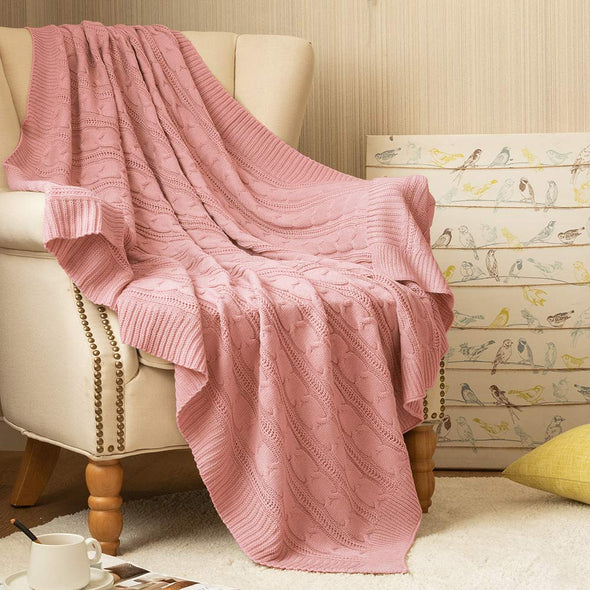 Throw Blanket Pink Lightweight Cable Knit Sweater Style Year Round Gift Indoor Outdoor Travel Accent Throw for Sofa Comforter Couch Bed Recliner Living Room Bedroom