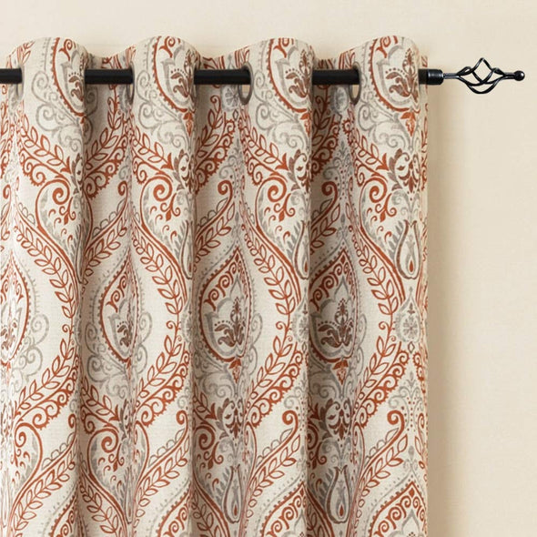 Linen Textured Blackout Curtains for Bedroom Damask Printed Drapes Panels for Living Room Patio Door 1 Pair