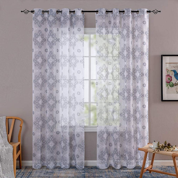 Luxuriant Embroidered Sheer Curtains 63 84 95 Inches Long for Living Room Bedroom Grommet Top