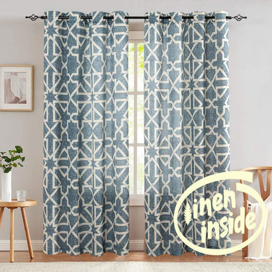 Linen Curtains for Living Room Flax Linen Blend Textured on Beige Drapes Geometry Pattern Print Grommet Window Treatment Set for Bedroom 2 Panels