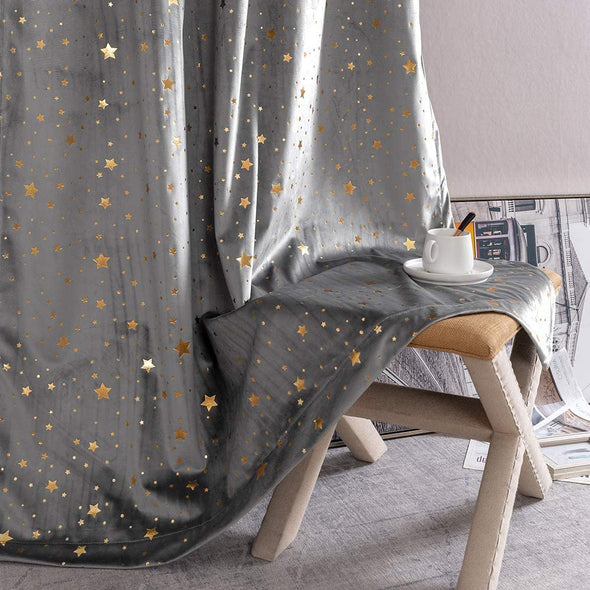 Velvet Curtains for Living Room Bedroom Star Rod Pocket Drapes Star Foile Detail Christmas Decor Window Treatment Set 2 Panels
