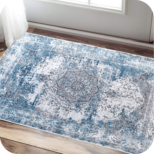 Vintage Traditional Area Rug for Kitchen Floorcover Soft Floral Printed Indoor Low Pile Mat for Bedroom 4'x6'7""