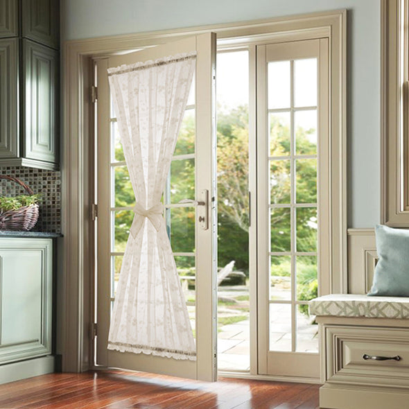 BELLA // Sheer Embroidery French Door Curtain With Flower Design
