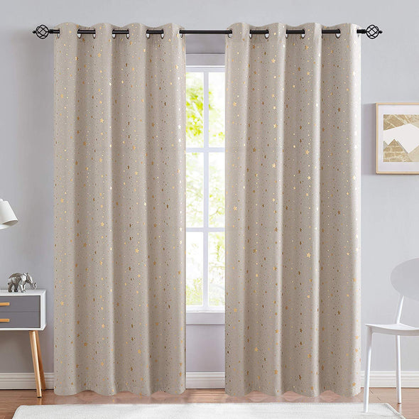 Blackout Curtains for Kids Bedroom Gold on Flax Star Design Faux Linen Textured Grommets Shiny Star Window Drapes Living Room 1 Panel