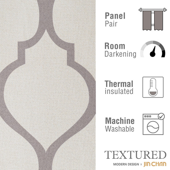 "MIA // Moroccan Tile Linen Blend Curtains With Heart Shaped Design Grommet Top 52""*84"" 2x Panels"