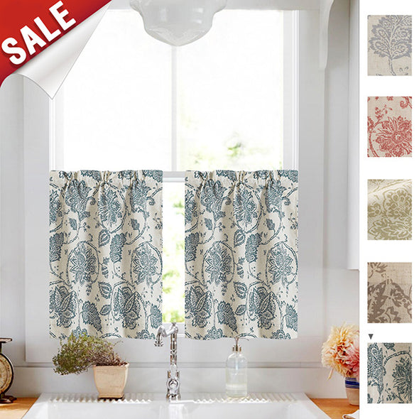 ISA // Paisley Scroll Print Linen Textured Tier Curtains
